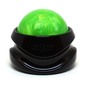 Green Massage Roller for at home massages that can include lotion or body oils